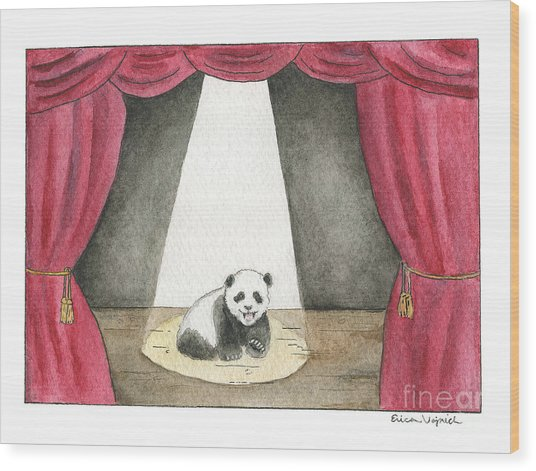 Panda Cub On Center Stage Wood Print by Erica Vojnich