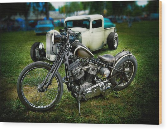 Panhead Harley And Ford Pickup Wood Print