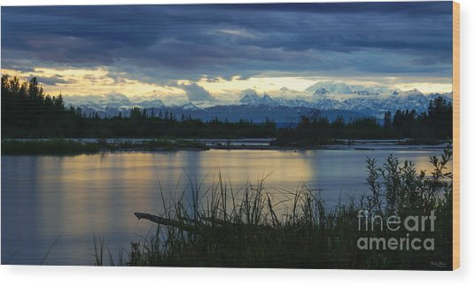 Pano Denali Midnight Sunset Wood Print