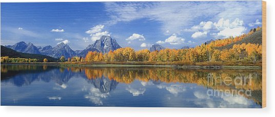 Panorama Fall Morning At Oxbow Bend Grand Tetons National Park Wood Print