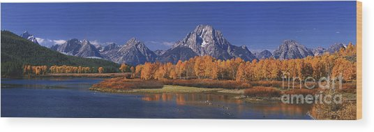 Panorama Fall Morning Oxbow Bend Grand Tetons National Park Wyoming Wood Print