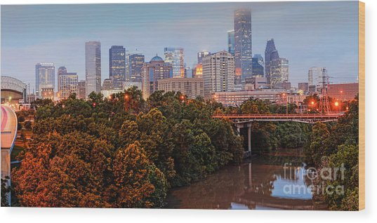 Panorama Of Downtown Houston At Dawn - Texas Wood Print