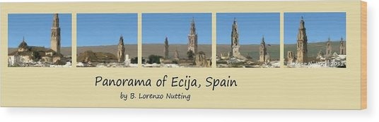 Panorama Of Ecija Spain Wood Print