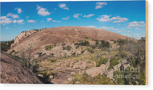 Panorama Of Enchanted Rock State Natural Area - Fredericksburg Texas Hill Country Wood Print
