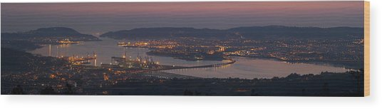 Panorama Of Ferrol From Mount Marraxon Galicia Spain Wood Print