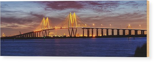 Panorama Of Fred Hartman Bridge Wood Print