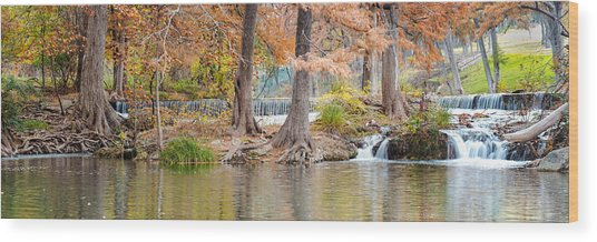 Panorama Of Guadalupe River In Hunt Texas Hill Country Wood Print