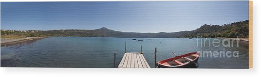 panorama of Lake Albano including pontoon and red rowing boat Wood Print
