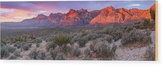 Panorama Of Rainbow Wilderness Red Rock Canyon - Las Vegas Nevada Wood Print