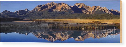 Panorama Reflections Sawtooth Mountains Nra Idaho Wood Print