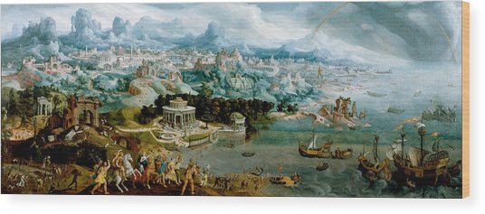 Panorama With The Abduction Of Helen Amidst The Wonders Of The Ancient World Wood Print