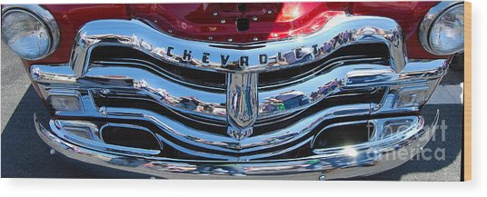 Panoramic Chevy Grill Wood Print