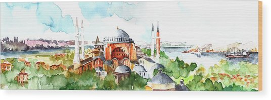 Panoramic Hagia Sophia In Istanbul Wood Print