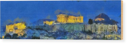 Panoramic Painting Of Acropolis In Athens Wood Print
