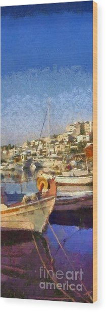 Panoramic Painting Of Mikrolimano Port Wood Print