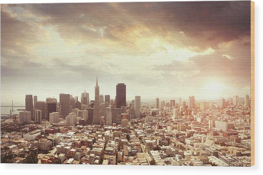 Panoramic Photo Of San Francisco In Wood Print by Narvikk