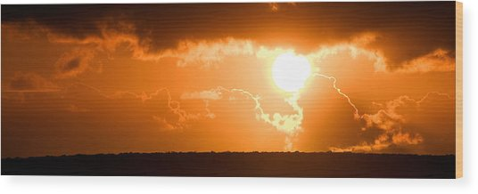 Panoramic Photo Of Sunset At Monkey Mia  Wood Print