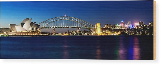 Panoramic Photo Of Sydney Night Scenery Wood Print
