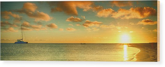 Panoramic Photo Sunrise At Monky Mia Wood Print