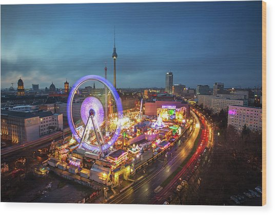 Panoramic View At Sunset Of Berlin With Wood Print by Andreas Mohaupt