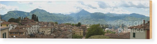 Panoramic View Barga And Apennines Italy Wood Print