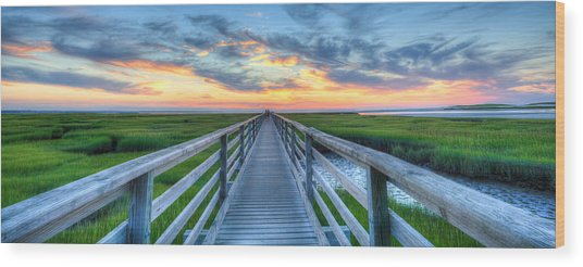 Panoramic View Bass Hole Boardwalk Wood Print