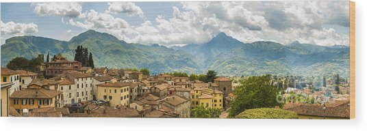 Panoramic View From Barga In Italy Of The Appeninies Wood Print