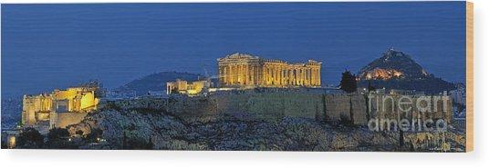 Panoramic View Of Acropolis Of Athens Wood Print