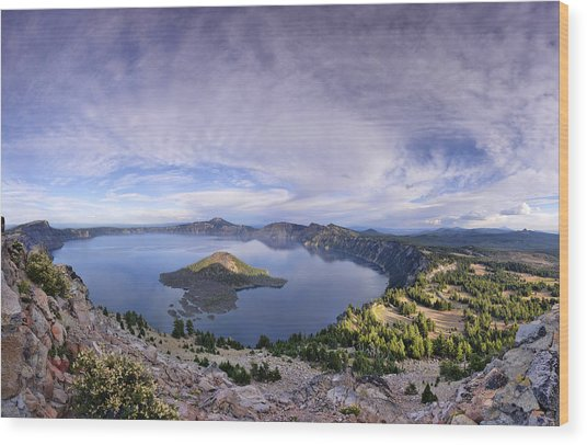 Panoramic View Of Crater Lake And Wizard Island Wood Print
