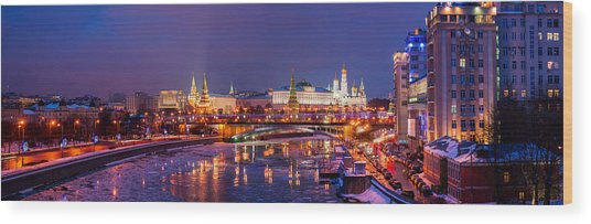 Panoramic View Of Moscow River And Moscow Kremlin  - Featured 3 Wood Print