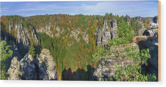Panoramic View Of The Elbe Sandstone Mountains Wood Print
