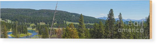 Panoramic Yellowstone Landscape Wood Print