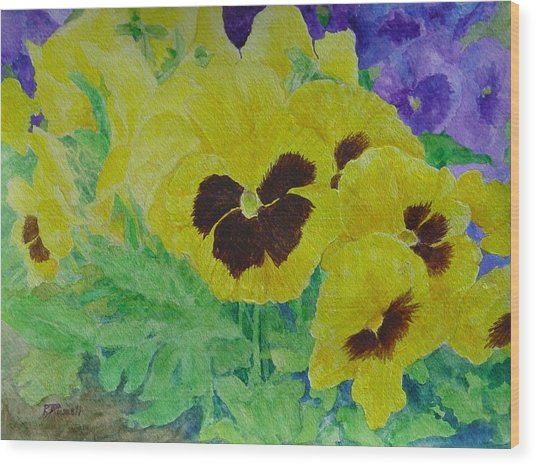 Pansies Colorful Flowers Floral Garden Art Painting Bright Yellow Pansy Original  Wood Print