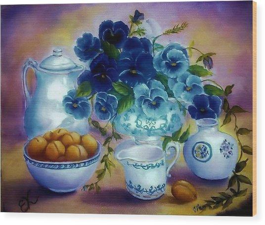 Pansies Of Blue Wood Print by Fineartist Ellen