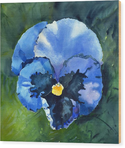 Pansy Blue Wood Print