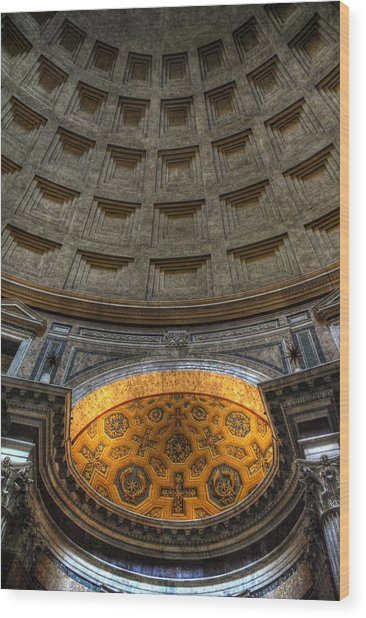Pantheon Ceiling Detail Wood Print