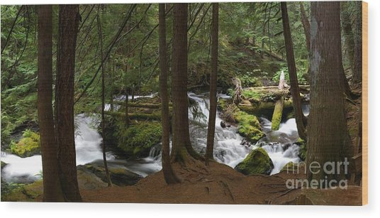 Panther Creek Panorama- Washington Wood Print