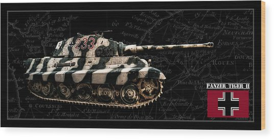 Panzer Tiger II Side Bk Bg Wood Print
