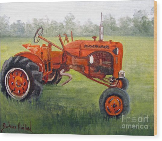 Papa's Red Tractor Wood Print