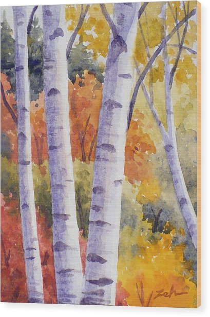 Paper Birches In Autumn Wood Print