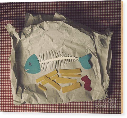 Paper Fish And Chips Wood Print by Catherine MacBride