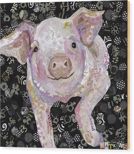 Paper Pig Wood Print by Beth Watkins