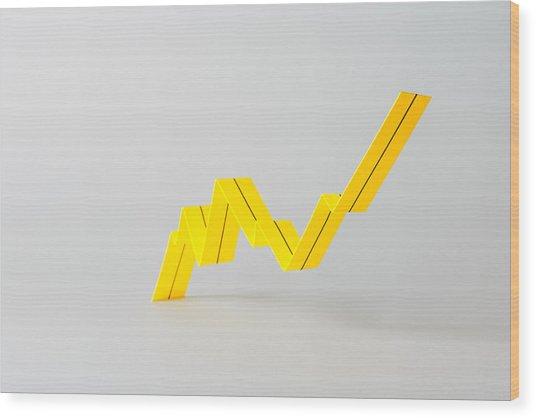 Paper Stripe Folded  Into A Peak Chart Wood Print by Jekaterina Nikitina