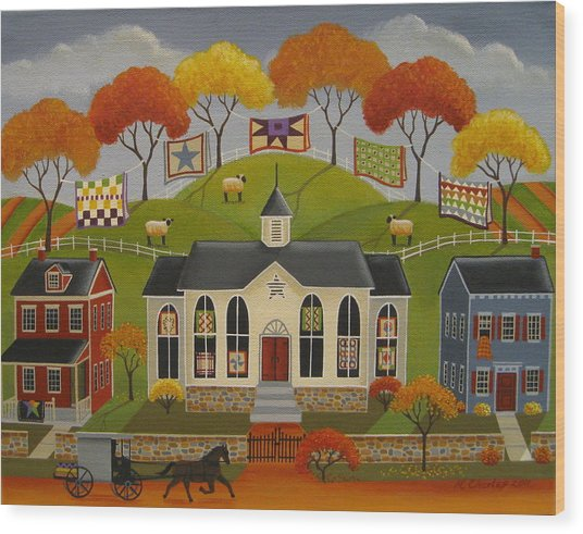 Parade Of Quilts Wood Print