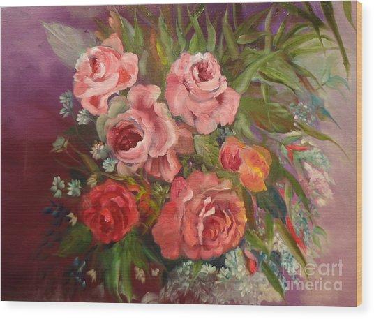 Parade Of Roses Wood Print