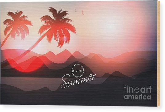 Paradise Island-palm Tree Sunset Wood Print