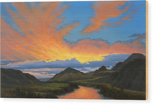Paradise Valley Sunset  Wood Print