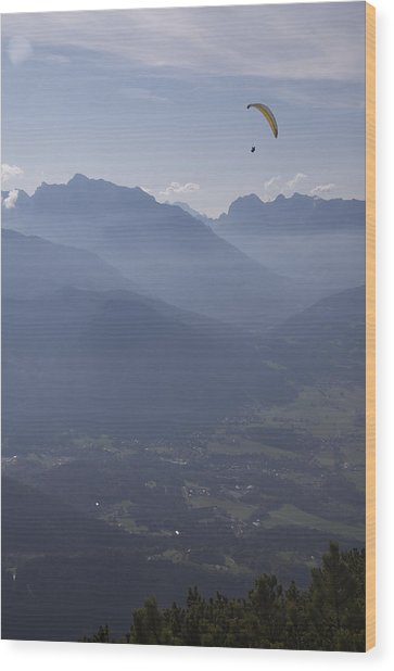 Paraglider's View Wood Print