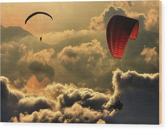 Paragliding 2 Wood Print