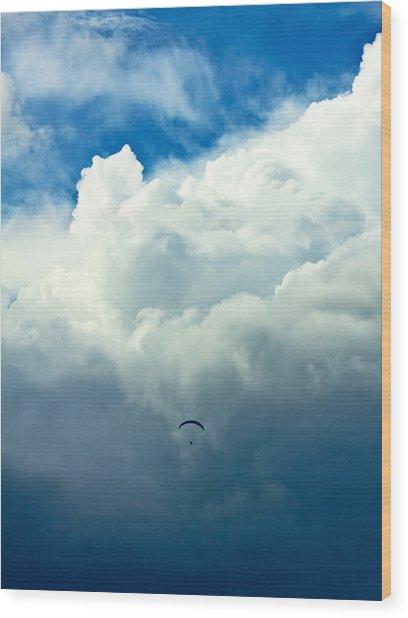 Paragliding In Changing Weather Wood Print by Viacheslav Savitskiy
